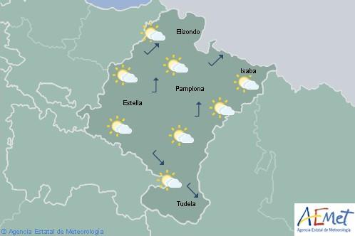 En Navarra alguna precipitación en el norte por la mañana tendiendo a poco nubosos