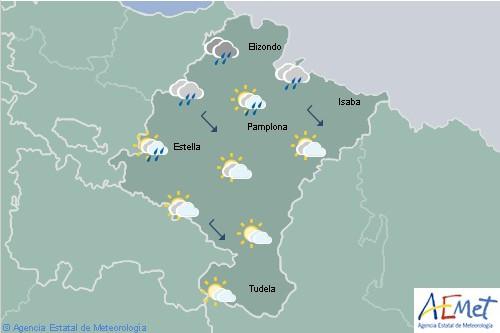 En Navarra cielos nubosos con lluvias y chubascos en el noroeste