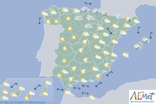 Hoy en España precipitaciones en Baleares, nuboso en el noreste y poco nuboso en el resto