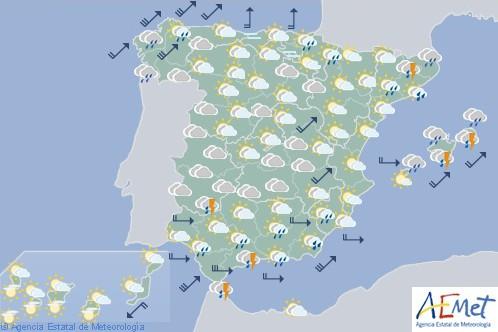 Hoy en España cielos nubosos con precipitaciones fuertes en el este de Cataluña y Baleares