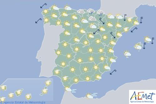 Hoy en España viento fuerte en el Ebro, Pirineos, Cataluña y Baleares con lloviznas en Cantábrico oriental y Navarra