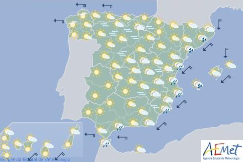 Hoy en España probabilidad de chubascos fuertes en Cataluña y Levante, aumento de temperaturas en el norte