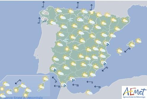 Hoy en España nubes altas con precipitaciones en Galicia sin descartar en el litoral mediterráneo