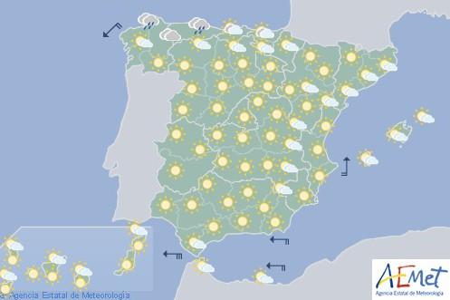 Hoy en España nuboso en el norte con posibles lluvias en litoral cantábrico occidental