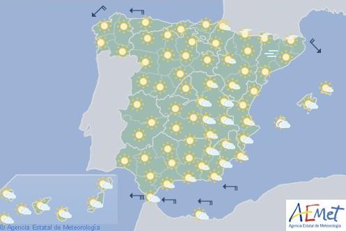 Hoy en España tiempo estable y cielo poco nuboso
