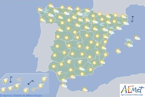Hoy en España temperaturas significativamente altas, especialmente en Canarias