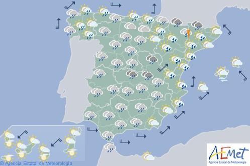 Hoy en España predominio de precipitaciones fuertes o persistentes y temperaturas en descenso