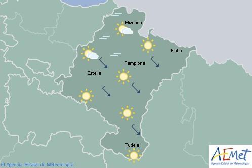 Cielo poco nuboso o despejado con intervalos de nubes altas en Navarra