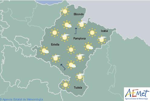 En Navarra poco nuboso o despejado y temperaturas máximas con pocos cambios