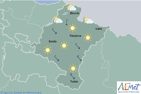 Poco nuboso o despejado en Navarra, por la tarde lloviznas en Pirineos