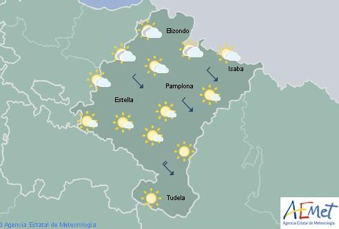 En Navarra cielo nuboso con lluvias débiles tendentes a remitir