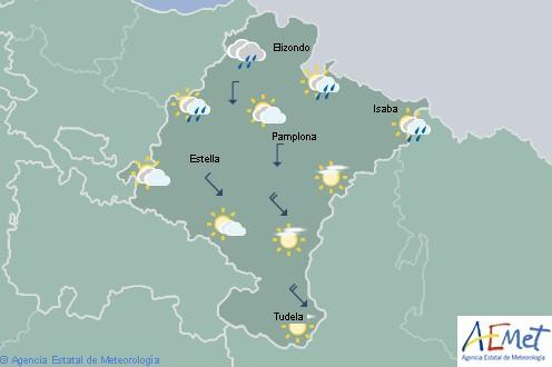 En Navarra lluvias débiles en el tercio noroeste y Pirineos, en la Ribera poco nuboso
