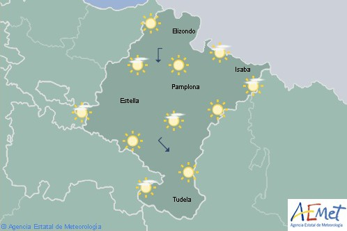 En Navarra predominio de cielo despejado y temperaturas máximas en ascenso