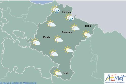 Nuboso o cubierto de nubes bajas con precipitaciones débiles y dispersas en Navarra