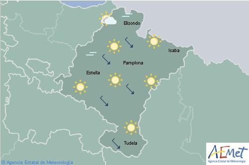 En Navarra poco nuboso o despejado aumentando a nuboso