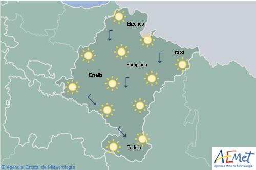 Poco nuboso o despejado con temperaturas en ascenso en Navarra