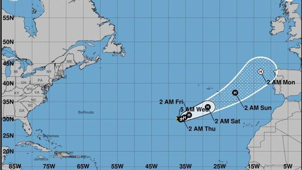 La tormenta tropical Ofelia podría alcanzar la próxima semana la costa española como huracán