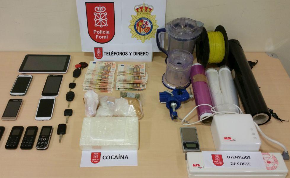 Policía Foral detiene a una persona con un kilo y medio de cocaína con destino Pamplona