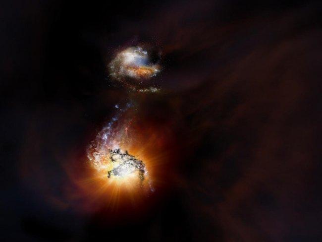 Dos galaxias se fusionan a 13.000 millones de años luz