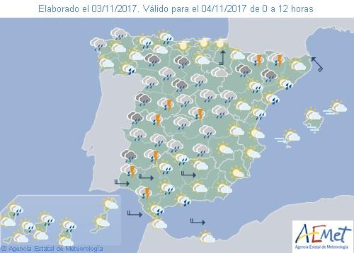 Hoy precipitaciones en casi todo España con tormentas en el noreste peninsular