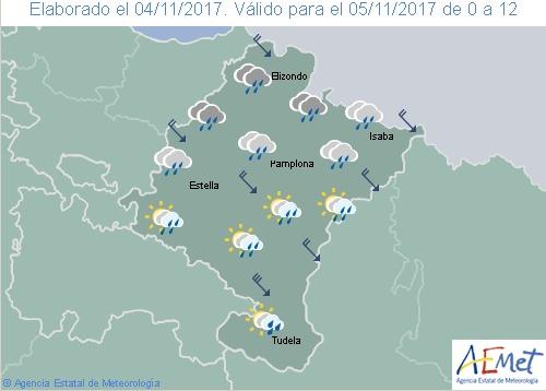 Cielo cubierto, lluvias y nieve a 1.300 metros en Navarra