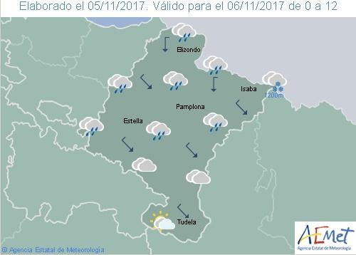 En Navarra las precipitaciones tienden a remitir con la cota de nieve en 1.200 m.