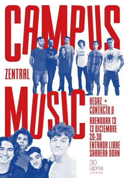 """AGENDA: 13 de diciembre, en Zentral de Pamplona, Campus Music 2017 de la UPNA: """"Hegaz"""" y """"Contacto 0"""""""