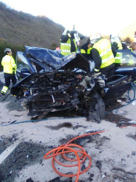 Dos heridos graves en una colisión en Sorauren
