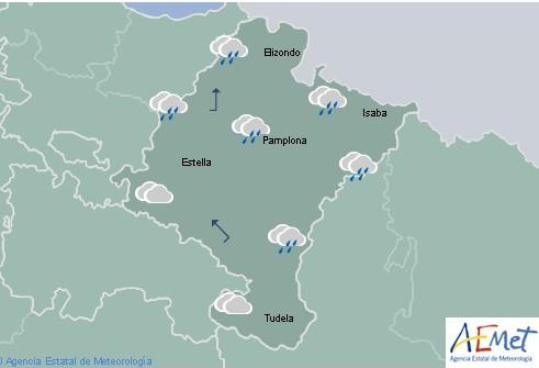 En Navarra hoy cubierto con lluvia y rachas fuertes de viento, cota de nieve baja a 800-1000 m.