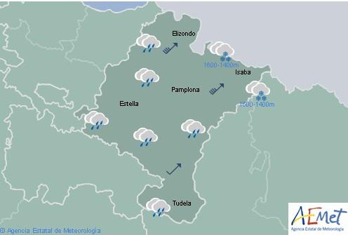 En Navarra lluvias generalizadas, cota de nieve bajando al final del día a 800-900 metros