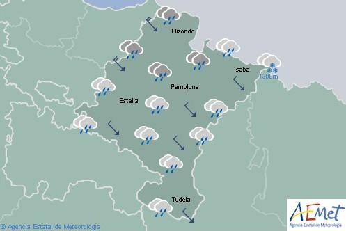 Chubascos en el extremo norte de Navarra la cota de nieve bajará a los 800 metros