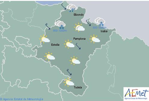 En Navarra predominio de cielo nuboso con lluvias débiles