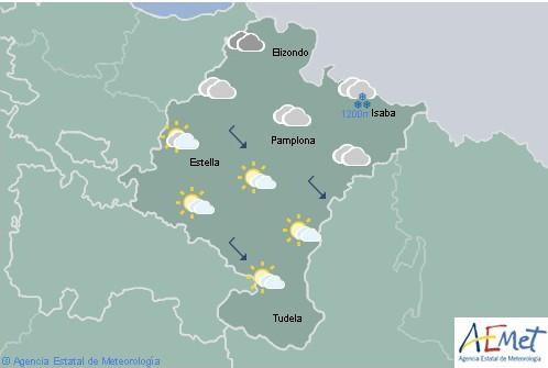 En Navarra cielo nuboso con lluvias fuerte en la Vertiente Cantábrica, temperaturas en ascenso