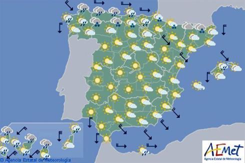 Hoy en España lluvia en el norte y nevadas en la cordillera Cantábrica y en Navarra