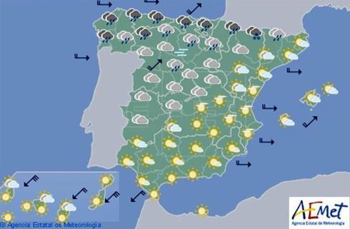 Hoy en España, lluvias fuertes hoy en el sur de Galicia