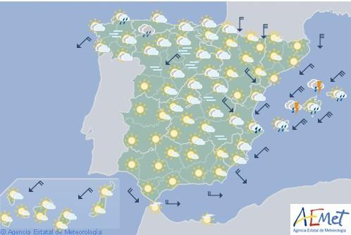 Vientos fuertes en área mediterránea y Pirineos y lluvias en Valencia