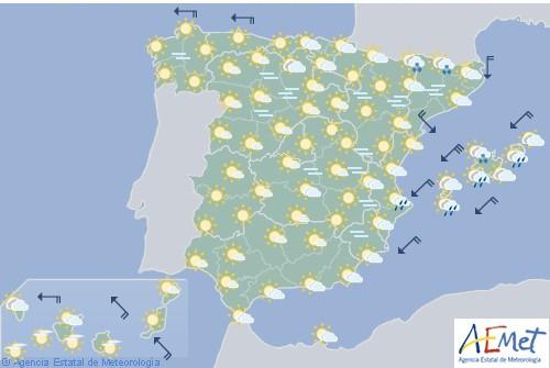 Hoy en España cielo poco nuboso con posibilidad de precipitaciones en Melilla
