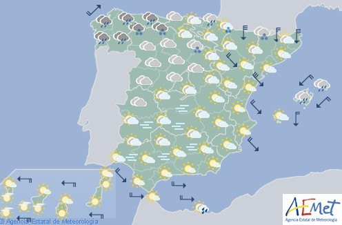 Hoy en España lluvia generalizada en la Península, Baleares y Melilla