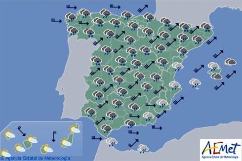 Hoy en España lluvias fuertes en Galicia, área Cantábrica y extremo sur de Andalucía