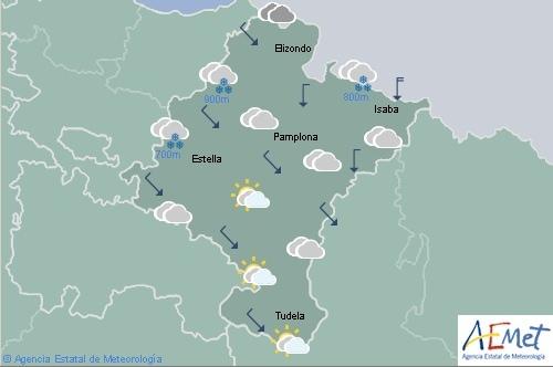 En Navarra lluvias en el norte que iran remitiendo, cota de nieve subiendo a 1000 metros