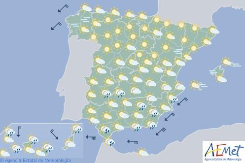Hoy en España,  precipitaciones intensas en área del Estrecho y Canarias