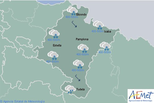 Hoy en Navarra cota de nieve a 400 metros subiendo hasta los 1000 metros