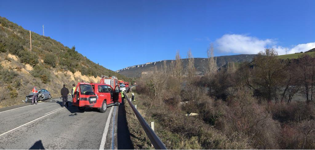Una herida grave y otro leve, en un accidente de tráfico en Liédena