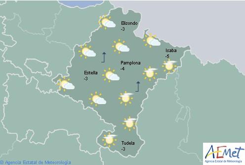 En Navarra, nubes medias y altas aumentando a cubierto con precipitaciones