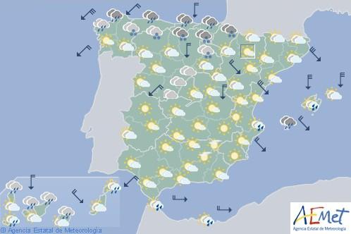 Hoy en España, nevadas en cotas muy bajas en el norte y heladas en el interior