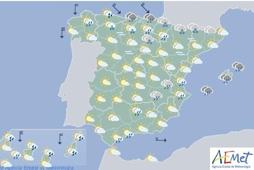 Hoy en España, lluvias fuertes en Cantabria y Canarias, y temperaturas en descenso