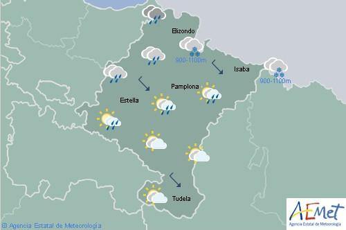 En Navarra cubierto con precipitaciones, cota de nieve bajando a 400 metros