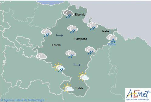 Cielo nuboso, lluvia y chubascos en el norte de Navarra, más intenso en Pirineos