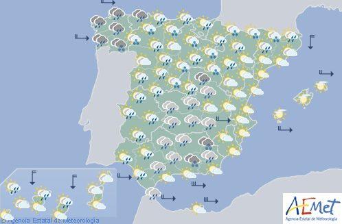 Hoy en España, precipitaciones persistentes y viento fuerte en el litoral gallego y Alborán