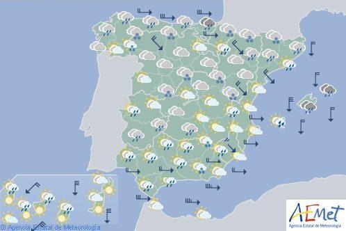 Hoy en España, precipitaciones en el Cantábrico y Baleares y nevadas en zonas demontaña